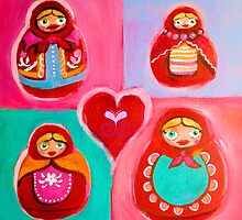 Red Riding Hood Russian Dolls by sunset