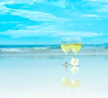 Two glasses of white wine by MotHaiBaPhoto Dmitry & Olga