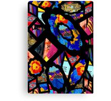 Stain Glass Image Collage Fabrics Canvas Print