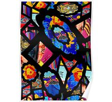 Stain Glass Image Collage Fabrics Poster
