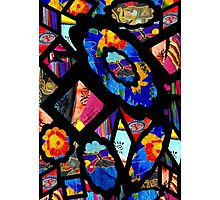 Stain Glass Image Collage Fabrics Photographic Print