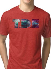 TDE TOP DAWG TRIPPY PURPLE TEAL GREEN BLUE NEBULA  Tri-blend T-Shirt