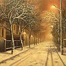 whinter night on Paris street,Bucarest by edisandu