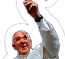 Pope Francis 2015 with doves white background Sticker