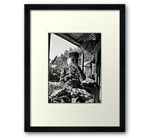 old lady smoking Framed Print