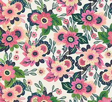 Romantic Pink Watercolor Floral Pattern by shopconfetti