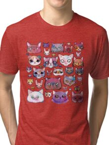 Feline Faces Tri-blend T-Shirt