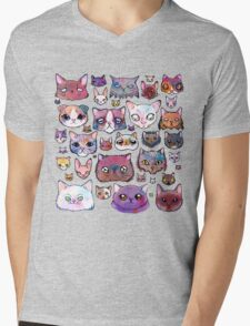 Feline Faces Mens V-Neck T-Shirt