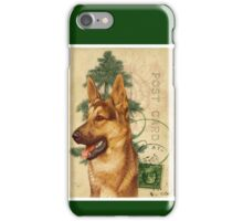 German Shepard Dog Vintage Post Card iPhone Case/Skin