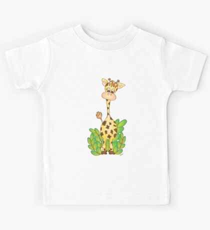 Adorable Giraffe with Leaves Kids Tee