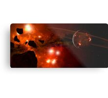 A young ringed planet with glowing lava and asteroids. Metal Print