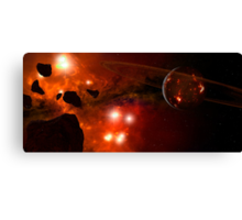 A young ringed planet with glowing lava and asteroids. Canvas Print