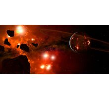 A young ringed planet with glowing lava and asteroids. Photographic Print