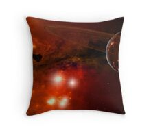 A young ringed planet with glowing lava and asteroids. Throw Pillow