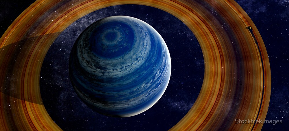 A ringed blue gas giant. by StocktrekImages