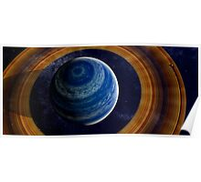 A ringed blue gas giant. Poster