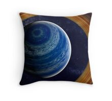 A ringed blue gas giant. Throw Pillow