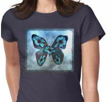 Aqua Blue Butterfly Womens Fitted T-Shirt