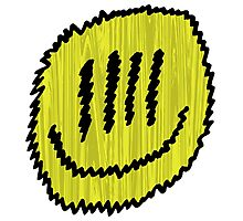 Yellow Fuzz Smiley Photographic Print