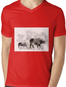Rhino and Baby Mens V-Neck T-Shirt
