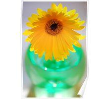 Yellow Flower, Green Vase Poster