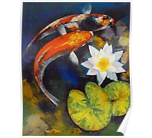 Koi Fish and Water Lily Poster