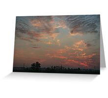 Sky fire in village early morning Greeting Card
