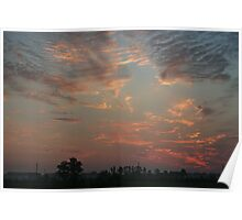 Sky fire in village early morning Poster