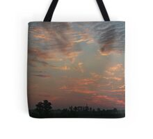 Sky fire in village early morning Tote Bag