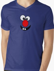 Funny Cartoon Face Kids T-Shirt and Sticker Mens V-Neck T-Shirt