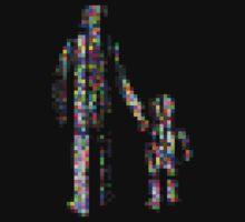 8 bit pixel pedestrians (color on black) by Pekka Nikrus