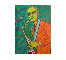 336 - THE SAX PLAYER - DAVE EDWARDS - COLOURED PENCILS - 2011 Art Print