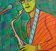 336 - THE SAX PLAYER - DAVE EDWARDS - COLOURED PENCILS - 2011 by BLYTHART