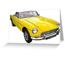 Yellow convertible MG classic car Greeting Card