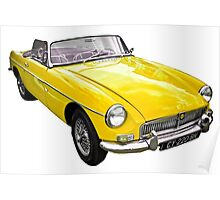 Yellow convertible MG classic car Poster