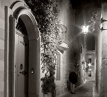 Mdina Streetscene - Malta by Night by M G  Pettett
