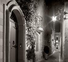 Mdina Streetscene - Malta by Night by M G  Pettett