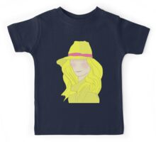 Girl In Hat With Purple Ribbon Kids Tee