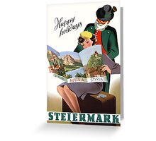 Steiermark Styria Vintage Travel Poster Restored Greeting Card