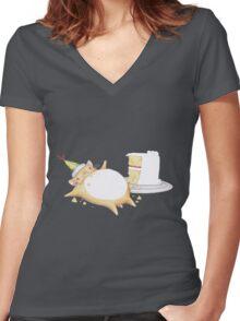 Greedy Hamster Women's Fitted V-Neck T-Shirt