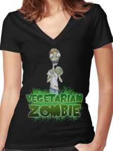 Vegetarian Zombie Women's Fitted V-Neck T-Shirt