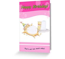 Happy Birhday from Greedy Hamster (pink) Greeting Card