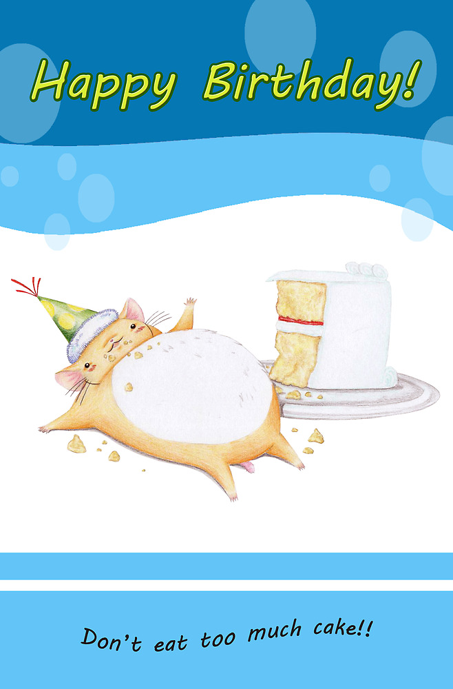 Happy Birthday from Greedy Hamster (blue) by MissCake