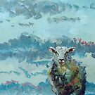 Colorful sheep painting - Out of the Stormy Sky by MikeJory