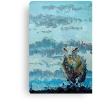 Colorful sheep painting - Out of the Stormy Sky Canvas Print