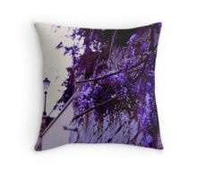 Wisteria on the wall Throw Pillow