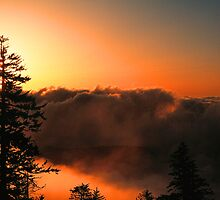 CLOUDS AT SUNRISE,CLINGMANS DOME by Chuck Wickham