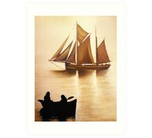 Boats In Sun Light Art Print