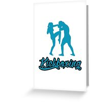 Kickboxing Female Knee Blue  Greeting Card