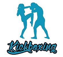 Kickboxing Female Knee Blue  Photographic Print
